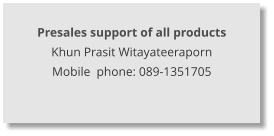 Presales support of all products Khun Prasit Witayateeraporn Mobile  phone: 089-1351705